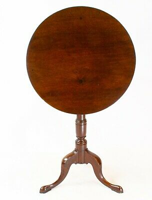 19C Solid Mahogany Tilt Top Tripod Table Wine Stand Antique English Victorian