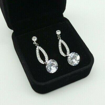 Vtg Art Deco Style Earrings Drop Dangle Crystal Sparkly Cocktail Party Pierced