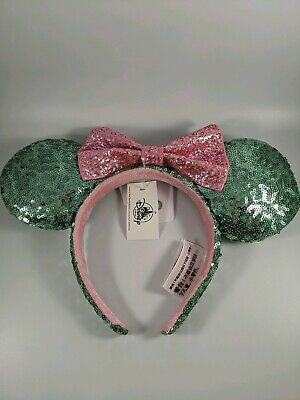 Disney Parks Mint and Pink Sparkle Minnie Mouse Ears Headband Authentic NWT