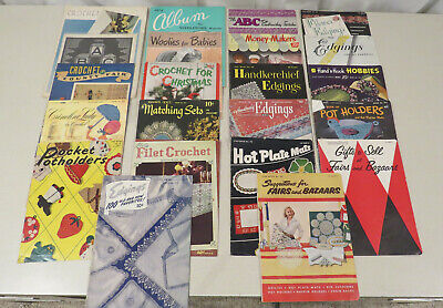 Lot of 22 vintage crochet pattern books, fairs and bazaars, pot holders, etc.