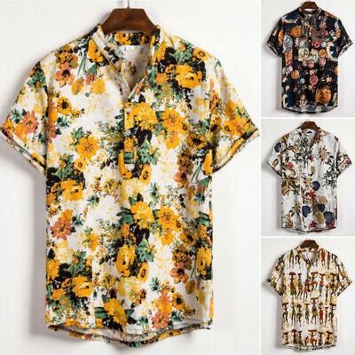 Men Stand Collar Short Sleeve Printed Blouse Tops Buttons Slim Boho Party Shirts