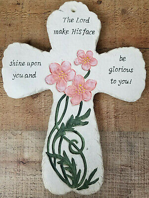 "Decorative Cross ""The Lord Shine Upon You"" Pink Floral Handmade White Plaster"