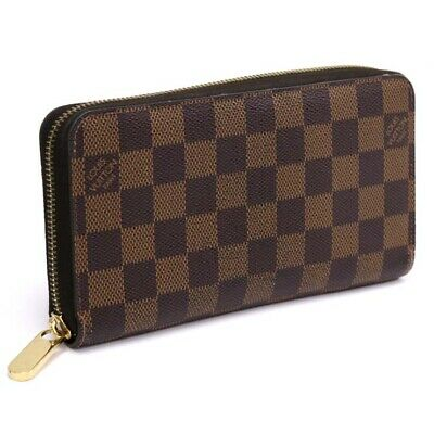 LOUIS VUITTON Damier Ebene Zippy wallet N60015 Wallet Brown Canvas