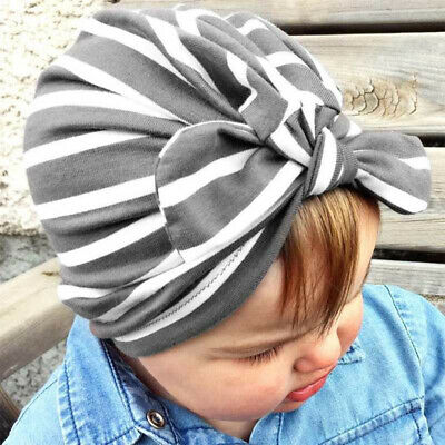 1x Baby Boys Girls Bowknot Hat Toddler Accessories Hair Headscarf Turban Striped