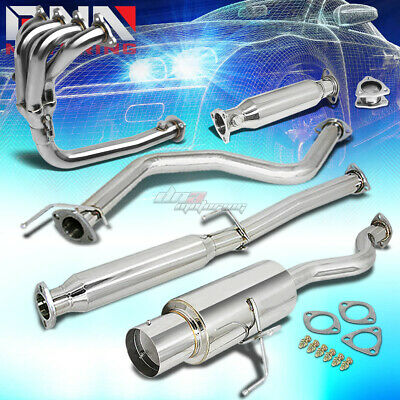 """4.5/"""" BURNT TIP CATBACK+4-1 HEADER MANIFOLD+EXHAUST PIPE FOR 92-00 CIVIC EJ//EH"""