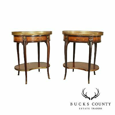 French Louis XV Style Marquetry Inlaid Pair Oval One Drawer Side Tables