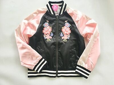 NWT The Children's Place TCP Girls 14 Black Pink Embroidered Satin Bomber Jacket