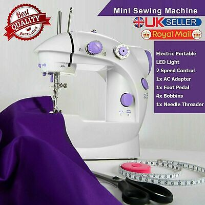 Portable Electric Sewing Machine Overlock 2 Speed Mains Powered LED Foot Pedal