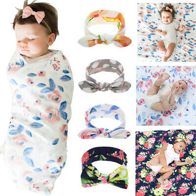Newborn Swaddle Blanket Baby Boys Girls Sleeping Bag Wrap Headband Cloth Cute UK