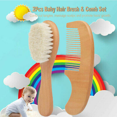 Baby Natural Wooden Hair Brush and Comb Set Eco-Friendly Goat Hair Bristles