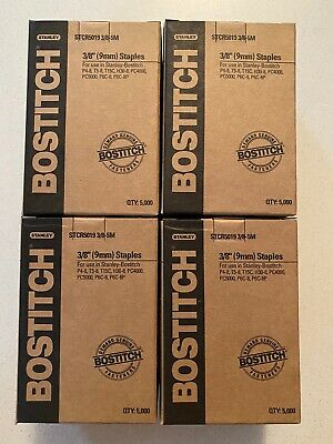 4 Box Stanley - Bostitch Tacker Staples STCR5019 3/8 9mm 4 x 5000 STCR50195M