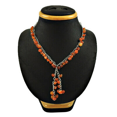 Beaded Necklace Carnelian Gemstone 925 Sterling Silver Engagement Gift Jewelry
