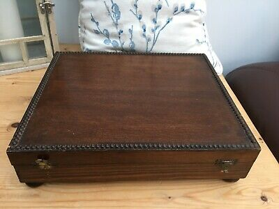Vintage Empty Wooden Cutlery Canteen Box Beading around the Lid - For Renovation