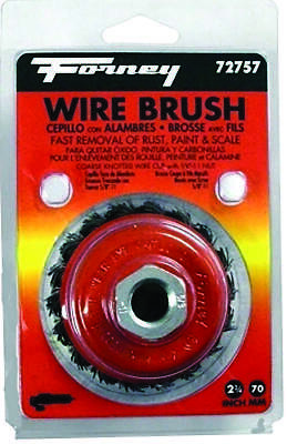 Forney 72757 Wire Cup Brush, 0.02 in Dia Bristle, 5/8-11 Arbor/Shank, 2-3/4 in D