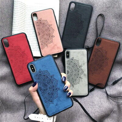 For iPhone 11 Pro Max X XS XR 8 7 Datura Printed Cloth Texture Hybrid Case Cover