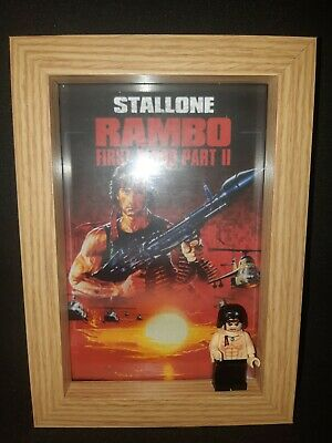 Custom Lego Rambo mini figure with clamshell display box