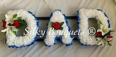 Dad Artificial Silk Funeral Flower Tribute Wreath Any 3 Letter Name Memorial