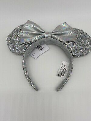 Disney Parks Magic Mirror Ears Minnie Headband Silver Sequin Bow NEw With Tags