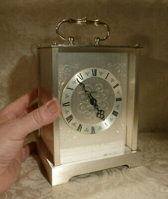 """Vintage Acctim Bell Strike Carriage Mantle Clock Mechanical Silvered Case 9"""""""