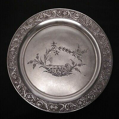 Antique Victorian James W. Tufts Quadruple Plate Etched Tray #1432