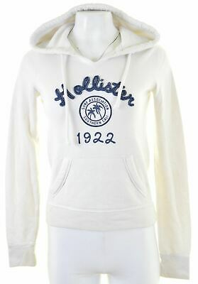 HOLLISTER Womens Hoodie Jumper Size 6 XS White Cotton  ML17