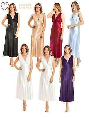 Ladies Girls Long Satin Nightdress Built Up Shoulder Lace Detail UK 10-28