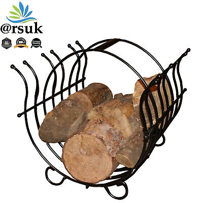 Log Holder Fireplace Wood Stand Rack Basket/Carrier Storage Made of Cast Iron