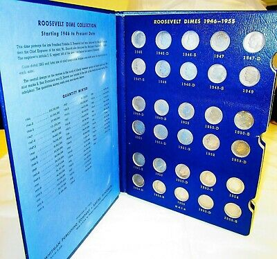 Complete Set Silver Roosevelt Dimes 1946-1972 | 60 in All Whitman Folder