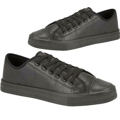 New Lace Up Black Faux Leather Infants Kids Boys Girls School Trainers Shoes UK