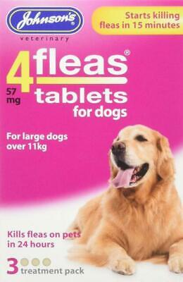 JOHNSONS 4 FLEAS TABLETS for LARGE DOG / OVER 11KG | 3 TREATMENT PACK KILLS FLEA