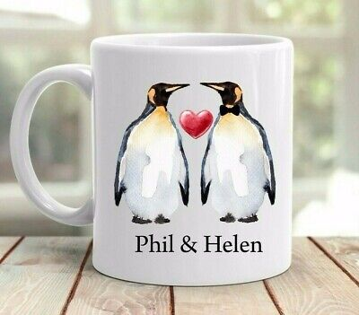 Personalised Penguin mug cup gift any name valentines birthday anniversary gift