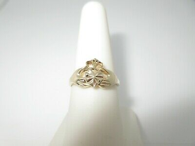 Gold Irish Claddagh Ring Promise Engagement Wedding Ring 14k Solid Size 8 R567