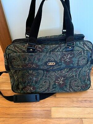 Vintage Green Black Floral Tapestry Carry On Satchel Weekend Bag Luggage Vintage