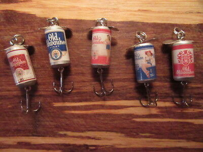 Old Milwaukee & OM Light Beer 5 Different Promotional Spinning Fishing Lure