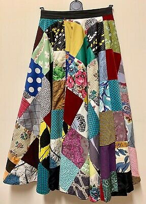 Spectacular 1950s Fully Reversible Patchwork Circle Skirt UK 8