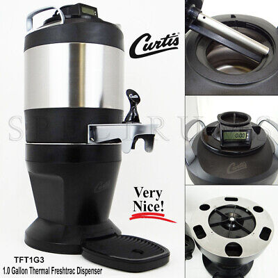 Curtis TFT1G3 1 Gallon Stainless Thermal Dispenser w/ Base & Brew Through Lid