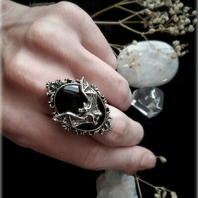 Festival Gift Jewelry Halloween Bat Cameo Ring Black Bat Ring Gothic Witch Ring