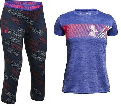 2 Pc Under Armour Girls Cropped Leggings & Tee Large 14 YLG NWT FREE SHIPPING