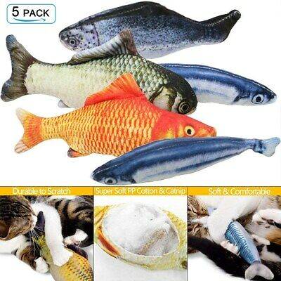 Fish Cat Toy 5 Pack Realistic Interactive Kicker Crazy Pet Gift Catnip Toys US