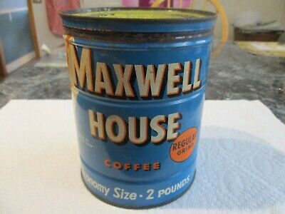 Vintage Maxwell House Coffee Tin Can 2 Lbs Key Open W