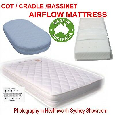 New Airflow Baby Bed  Cot Bassinet Crib Cradle Mattress Australian Made All Size