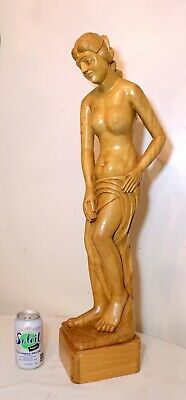 LARGE vintage hand carved teak wood nude lady Folk Art figural sculpture statue