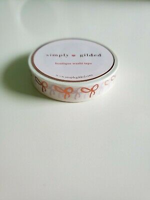 Simply Gilded Bow Washi Tape BRAND-NEW Skinny White with Coppery Rose Gold Foil
