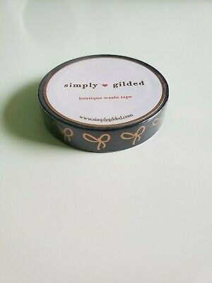 Simply Gilded Bow Washi Tape BRAND-NEW Skinny Black with Rose Gold Foil