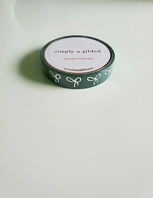 Simply Gilded Bow Washi Tape BRAND-NEW Skinny Serpentine Green Silver Foil