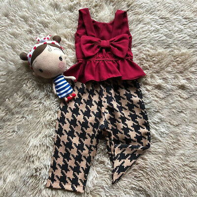 Toddler Kids Baby Girls Bowknot Ruffle Top Pants Trousers Outfits Clothes Set