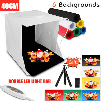 40CM LED Light Foldable Photo Studio Mini Photography Box Tent Cube 6 Backdrops
