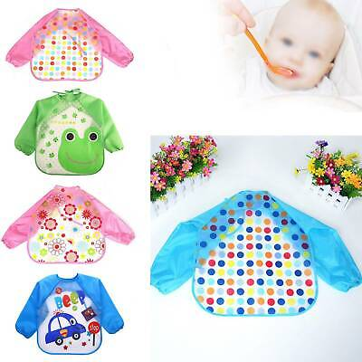 Baby Kids Bibs With Long Sleeve Baby Toddler Weaning Feeding Apron Smock