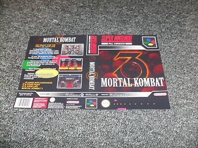 REPLACEMENT NINTENDO SNES UNIVERSAL GAME CASE BOX cover only - MORTAL KOMBAT 3