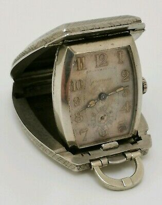 Vintage 1930s Grosvenor Art Deco Nickel Silver Pocket Purse Folding Travel Watch